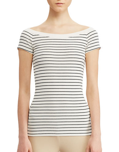 Lauren Ralph Lauren Striped Off-the-Shoulder Tee-WHITE-X-Large 89063305_WHITE_X-Large