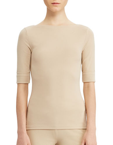 Lauren Ralph Lauren Stretch Cotton Bateau Tee-BEIGE-Large 89063390_BEIGE_Large