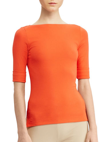 Lauren Ralph Lauren Stretch Cotton Bateau Tee-ORANGE-Small 89063397_ORANGE_Small