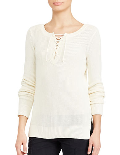Lauren Ralph Lauren Lace-Up Cotton-Blend Sweater-WHITE-Large 89063441_WHITE_Large