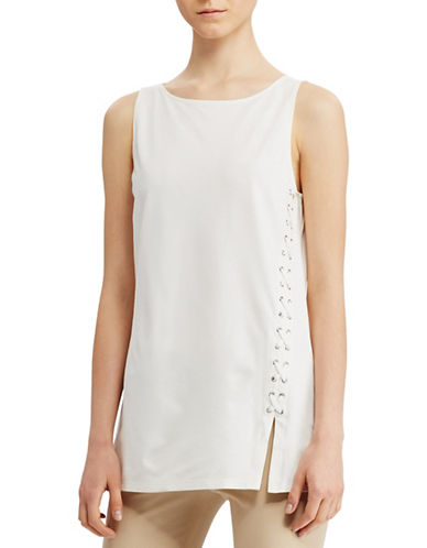 Lauren Ralph Lauren Lace-Up Ponte Tank-WHITE-Small 89063508_WHITE_Small