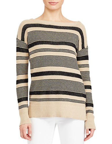Lauren Ralph Lauren Striped Linen-Cotton Sweater-BLACK-X-Large