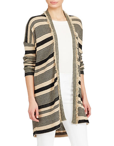 Lauren Ralph Lauren Striped Fringe Cardigan-BLACK-Medium 89063543_BLACK_Medium