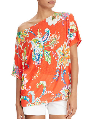 Lauren Ralph Lauren Floral Linen Top-ORANGE-Small 89063590_ORANGE_Small