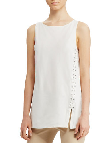 Lauren Ralph Lauren Petite Lace-Up Ponte Tank-WHITE-Petite Medium