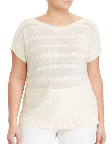 Lauren Ralph Lauren Plus Cable Short-Sleeve Sweater-WHITE-3X 89072107_WHITE_3X