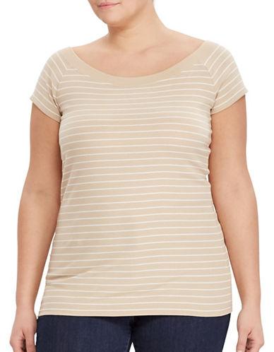 Lauren Ralph Lauren Plus Cotton Off-the-Shoulder Tee-BEIGE-1X