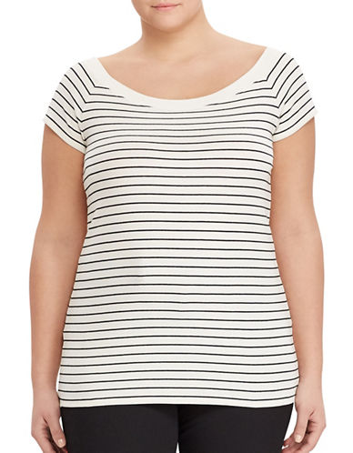 Lauren Ralph Lauren Plus Cotton Off-the-Shoulder Tee-WHITE-1X