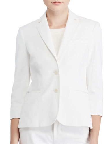 Lauren Ralph Lauren Plus Twill Two-Button Jacket-WHITE-14W
