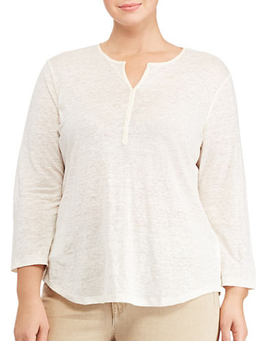 Lauren Ralph Lauren Plus Whipstitched Linen Tunic-WHITE-1X 89072208_WHITE_1X