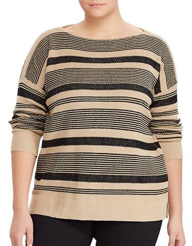 Lauren Ralph Lauren Plus Striped Linen-Cotton Sweater-BLACK-1X 89072211_BLACK_1X