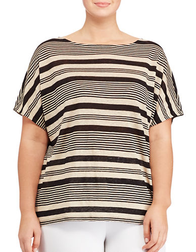 Lauren Ralph Lauren Plus Striped Linen Top-MULTI-1X 89072226_MULTI_1X