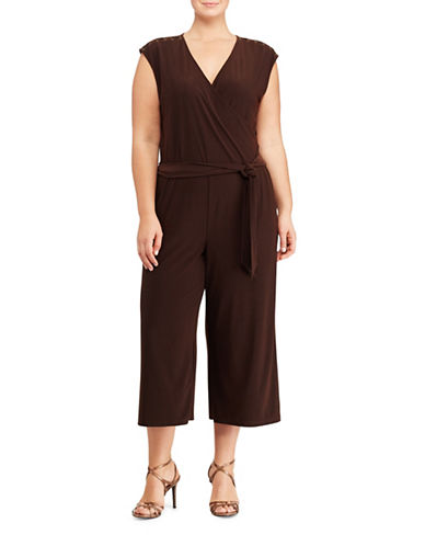 Lauren Ralph Lauren Plus Jersey Wide-Leg Jumpsuit-BROWN-1X 89072232_BROWN_1X