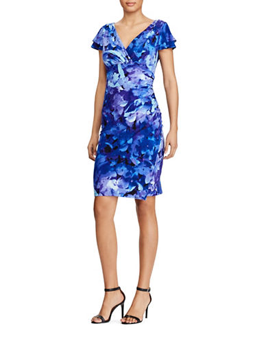 Lauren Ralph Lauren Flutter-Sleeve Floral Dress-BLUE-0