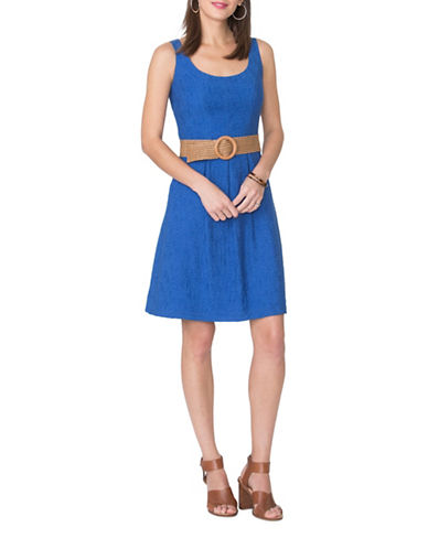 Chaps Pleated Fit-and-Flare Dress-BLUE-16