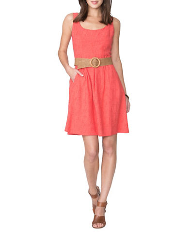 Chaps Pleated Fit-and-Flare Dress-ORANGE-8