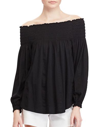 Lauren Ralph Lauren Smocked Off-the-Shoulder Top-BLACK-Medium 89134112_BLACK_Medium