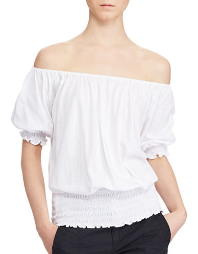 Lauren Ralph Lauren Smocked Off-the-Shoulder Top-WHITE-X-Large