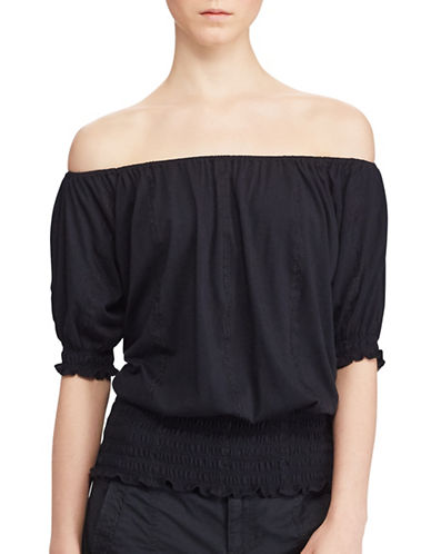 Lauren Ralph Lauren Smocked Off-the-Shoulder Top-BLACK-X-Small 89134135_BLACK_X-Small