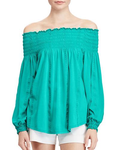 Lauren Ralph Lauren Petite Smocked Off-the-Shoulder Top-BLUE-Petite Small