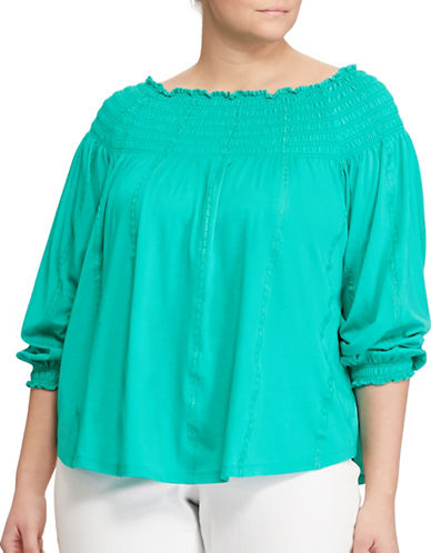 Lauren Ralph Lauren Plus Smocked Off-the-Shoulder Top-BLUE-2X