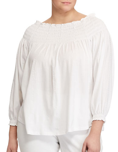 Lauren Ralph Lauren Plus Smocked Off-the-Shoulder Top-WHITE-1X