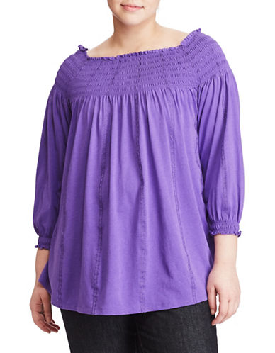 Lauren Ralph Lauren Plus Smocked Off-the-Shoulder Top-PURPLE-1X