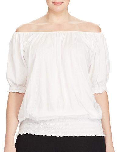 Lauren Ralph Lauren Plus Knit Smocked Off-the-Shoulder Top-WHITE-3X