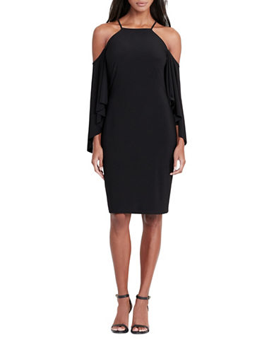Lauren Ralph Lauren Bell-Sleeve Jersey Dress-BLACK-12
