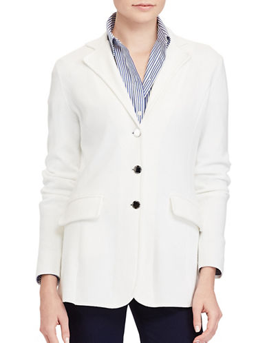Lauren Ralph Lauren Three-Button Sweater Jacket-WHITE-X-Large 89134164_WHITE_X-Large