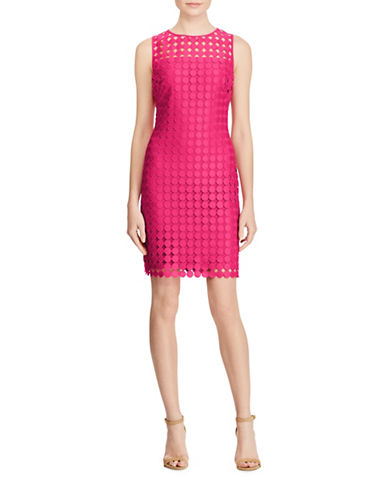 Lauren Ralph Lauren Polka-Dot Lace Sheath Dress-PINK-6