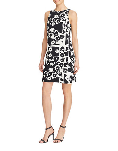 Lauren Ralph Lauren Floral-Print Crepe A-Line Dress-BLACK/CREAM-10