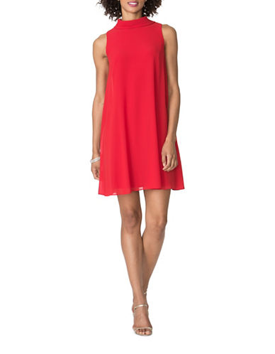 Chaps Georgette-Overlay Dress-RED-6