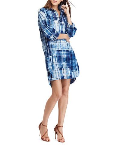 Polo Ralph Lauren Cotton Madras Shirtdress-INDIGO MULTI-X-Large