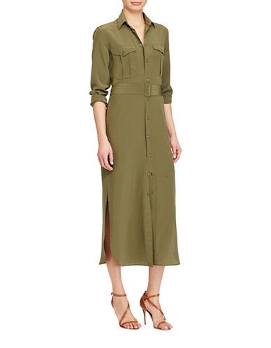 Polo Ralph Lauren Silk Crepe Shirtdress-NEW OLIVE-8