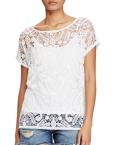 Polo Ralph Lauren Lace Short-Sleeve Top-WHITE-Small 89210169_WHITE_Small