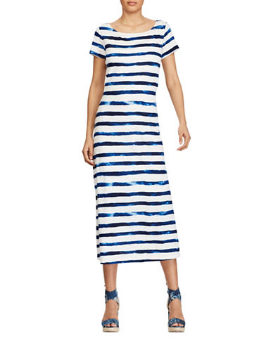 Polo Ralph Lauren Striped Cap-Sleeve Dress-INDIGO STRIPE-X-Small