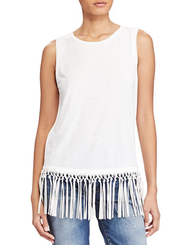 Polo Ralph Lauren Fringe-Trim Jersey Tank-WHITE-X-Small