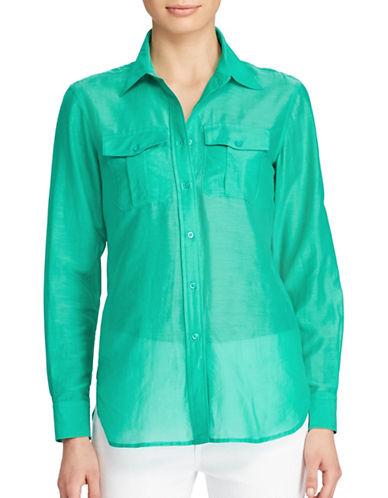 Lauren Ralph Lauren Courtenay Cotton-Silk Shirt-TURQUOISE-Small