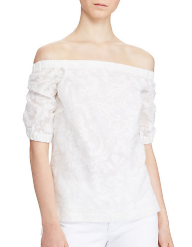 Lauren Ralph Lauren Concetta Jacquard Off-the-Shoulder Silk Blend Top-WHITE-Large