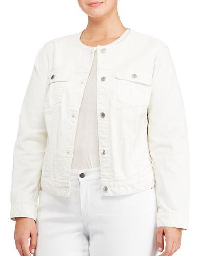 Lauren Ralph Lauren Plus Collarless Denim Jacket-NATURAL-1X