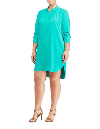 Lauren Ralph Lauren Plus Crepe de Chine Shirtdress-BLUE-2X