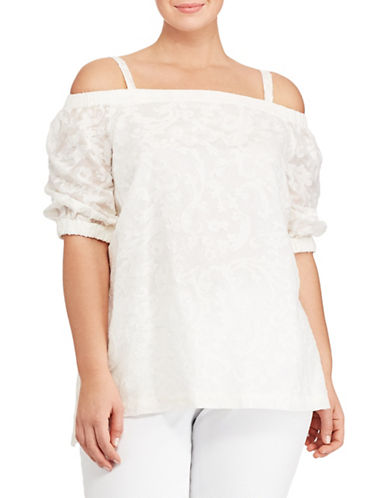Lauren Ralph Lauren Plus Jacquard Off-the-Shoulder Top-WHITE-3X