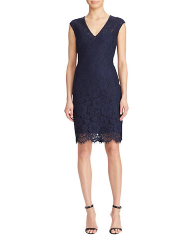 Lauren Ralph Lauren Floral Lace Dress-LIGHT NAVY-2