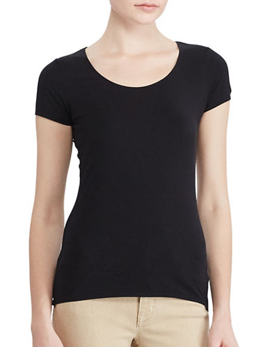 Lauren Ralph Lauren Stretch Tee-BLACK-Medium