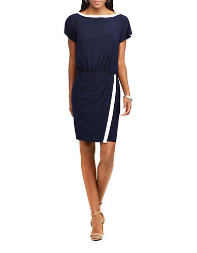 Chaps Two-Tone Jersey Sheath Dress-NAVY/CREAM-Medium