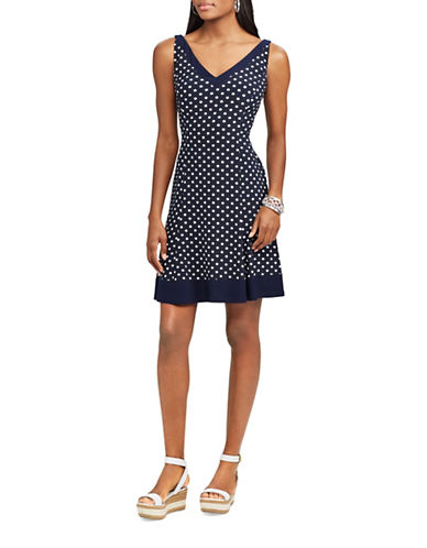 Chaps Polka-Dot Fit-and-Flare Dress-NAVY/CREAM-Small
