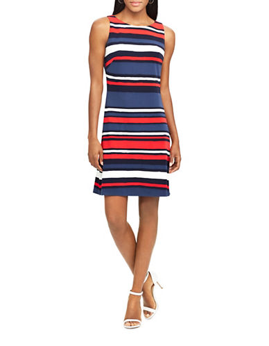 Chaps Striped Jersey A-Line Dress-NAVY/MULTI-X-Large