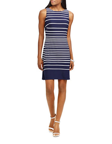 Chaps Striped Jersey Sheath Dress-NAVY/WHITE-Small
