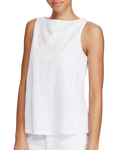 Lauren Ralph Lauren Geometric Embroidered Tank-WHITE-X-Large 89152452_WHITE_X-Large